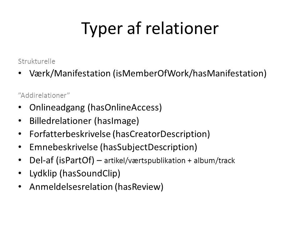 Typer af relationer Strukturelle Værk/Manifestation (isMemberOfWork/hasManifestation) Addirelationer Onlineadgang (hasOnlineAccess) Billedrelationer (hasImage) Forfatterbeskrivelse (hasCreatorDescription) Emnebeskrivelse (hasSubjectDescription) Del-af (isPartOf) – artikel/værtspublikation + album/track Lydklip (hasSoundClip) Anmeldelsesrelation (hasReview)