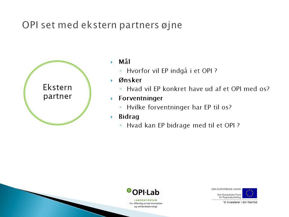  Mål ◦ Hvorfor vil EP indgå i et OPI .  Ønsker ◦ Hvad vil EP konkret have ud af et OPI med os.