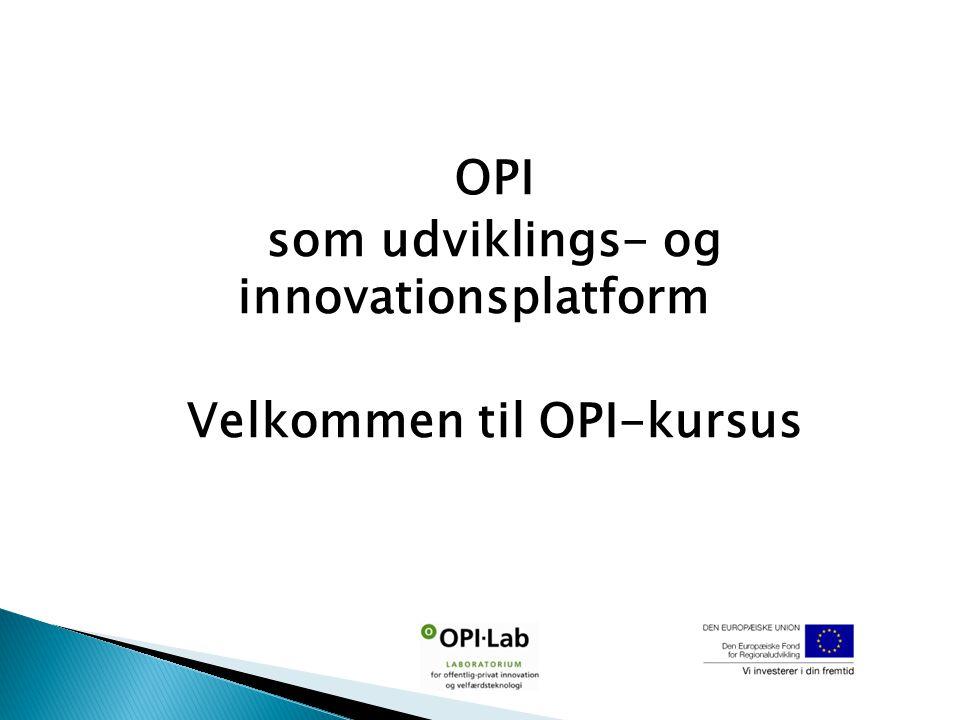 OPI som udviklings- og innovationsplatform Velkommen til OPI-kursus