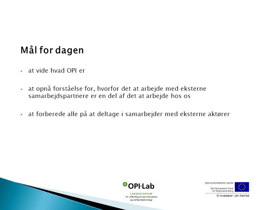 Mål for dagen  at vide hvad OPI er  at opnå forståelse for, hvorfor det at arbejde med eksterne samarbejdspartnere er en del af det at arbejde hos os  at forberede alle på at deltage i samarbejder med eksterne aktører