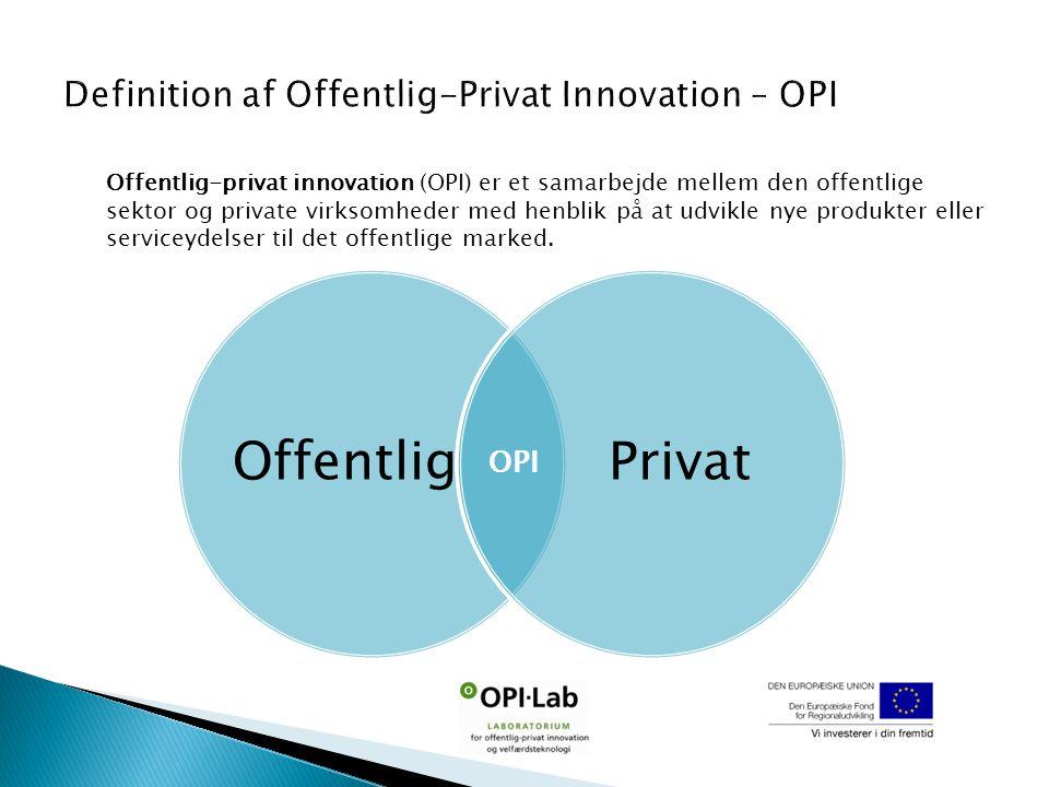 Offentlig Privat Offentlig-privat innovation (OPI) er et samarbejde mellem den offentlige sektor og private virksomheder med henblik på at udvikle nye produkter eller serviceydelser til det offentlige marked.