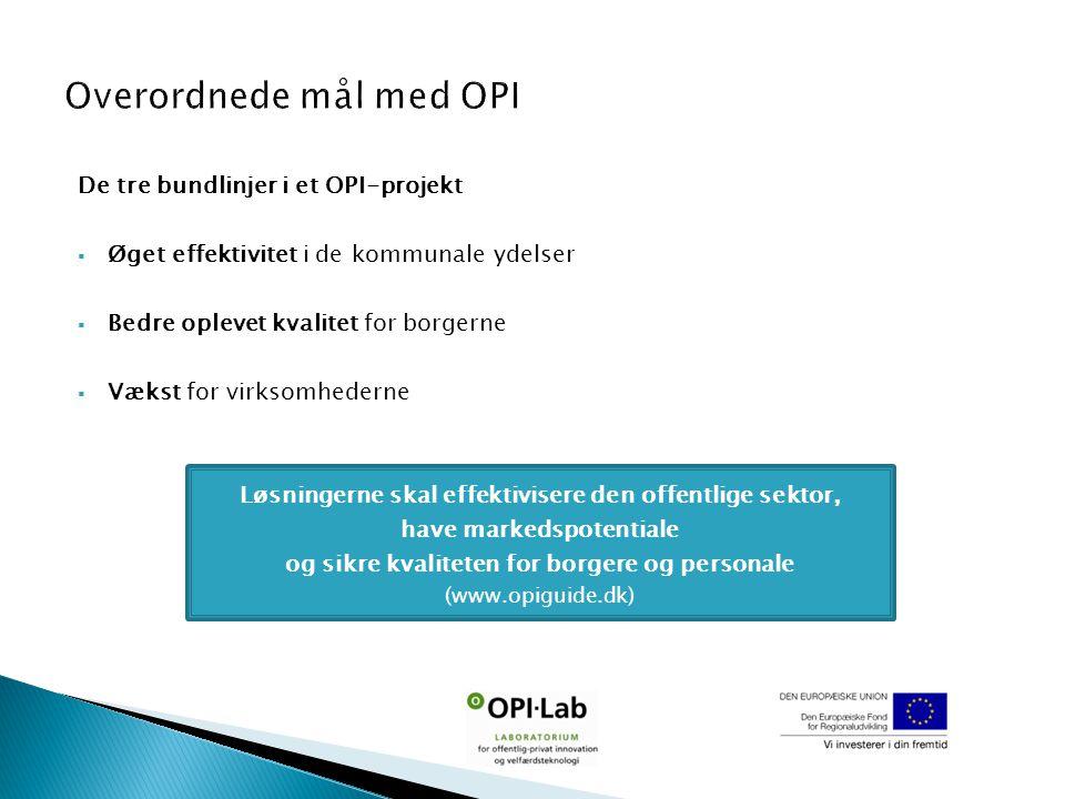De tre bundlinjer i et OPI-projekt  Øget effektivitet i de kommunale ydelser  Bedre oplevet kvalitet for borgerne  Vækst for virksomhederne Løsningerne skal effektivisere den offentlige sektor, have markedspotentiale og sikre kvaliteten for borgere og personale (www.opiguide.dk)