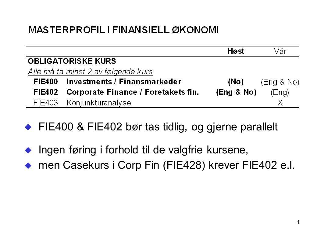 4  FIE400 & FIE402 bør tas tidlig, og gjerne parallelt  Ingen føring i forhold til de valgfrie kursene,  men Casekurs i Corp Fin (FIE428) krever FIE402 e.l.