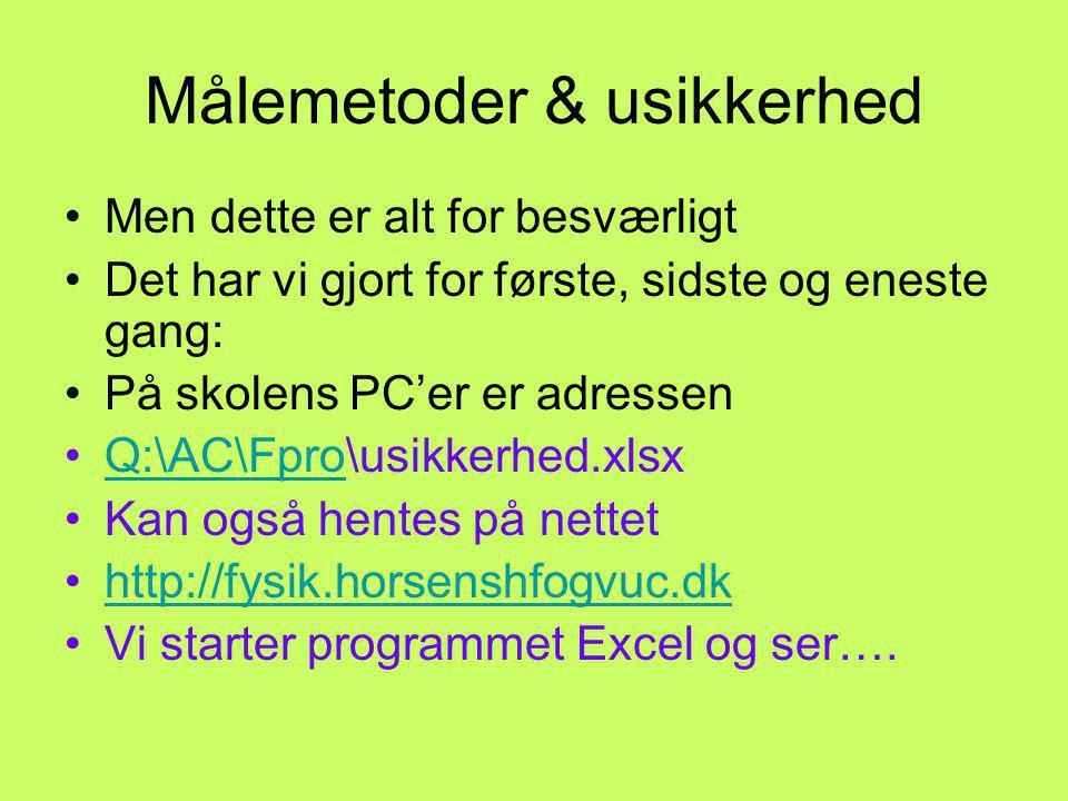 Målemetoder & usikkerhed Men dette er alt for besværligt Det har vi gjort for første, sidste og eneste gang: På skolens PC'er er adressen Q:\AC\Fpro\usikkerhed.xlsxQ:\AC\Fpro Kan også hentes på nettet http://fysik.horsenshfogvuc.dk Vi starter programmet Excel og ser….
