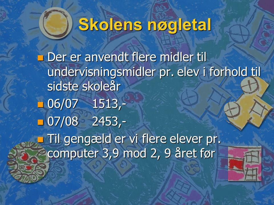 Skolens nøgletal n Der er anvendt flere midler til undervisningsmidler pr.