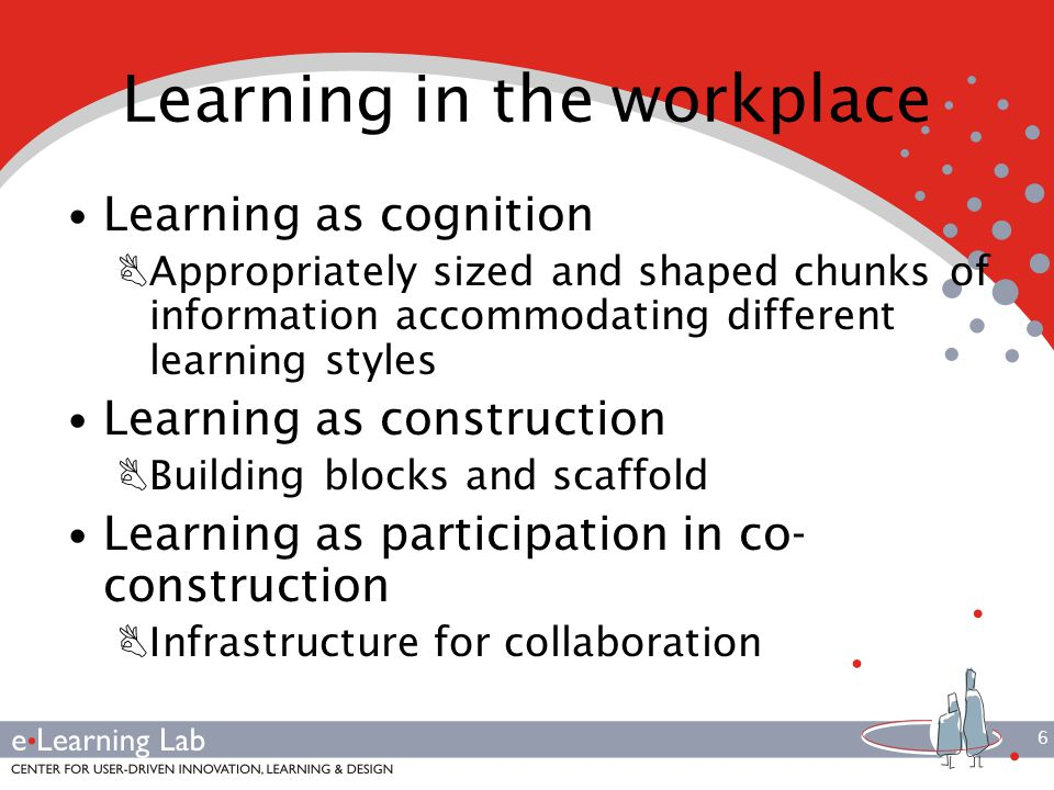 6 Learning in the workplace Learning as cognition BAppropriately sized and shaped chunks of information accommodating different learning styles Learning as construction BBuilding blocks and scaffold Learning as participation in co- construction BInfrastructure for collaboration