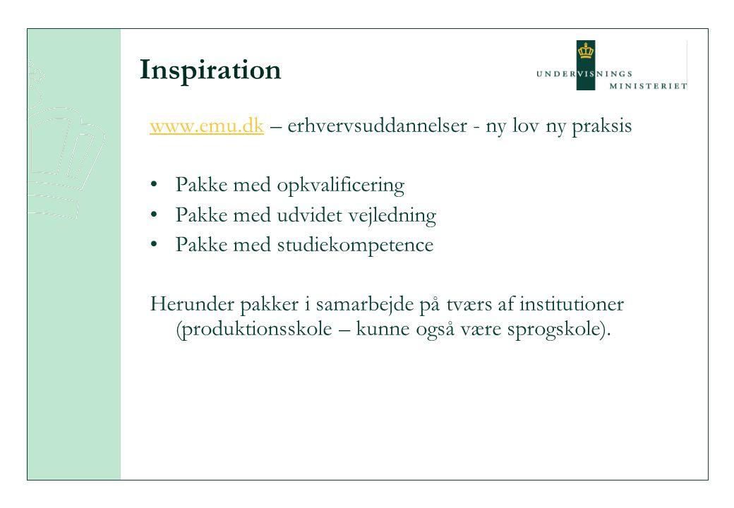 Inspiration www.emu.dkwww.emu.dk – erhvervsuddannelser - ny lov ny praksis Pakke med opkvalificering Pakke med udvidet vejledning Pakke med studiekompetence Herunder pakker i samarbejde på tværs af institutioner (produktionsskole – kunne også være sprogskole).