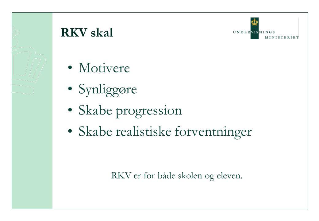 RKV skal Motivere Synliggøre Skabe progression Skabe realistiske forventninger RKV er for både skolen og eleven.
