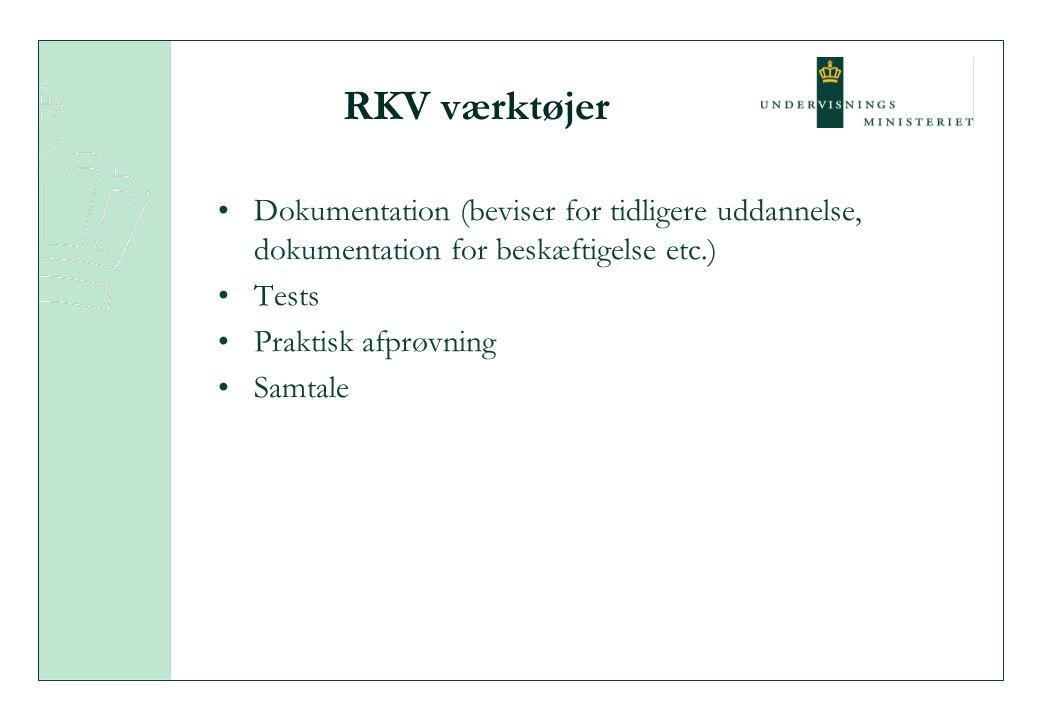 RKV værktøjer Dokumentation (beviser for tidligere uddannelse, dokumentation for beskæftigelse etc.) Tests Praktisk afprøvning Samtale