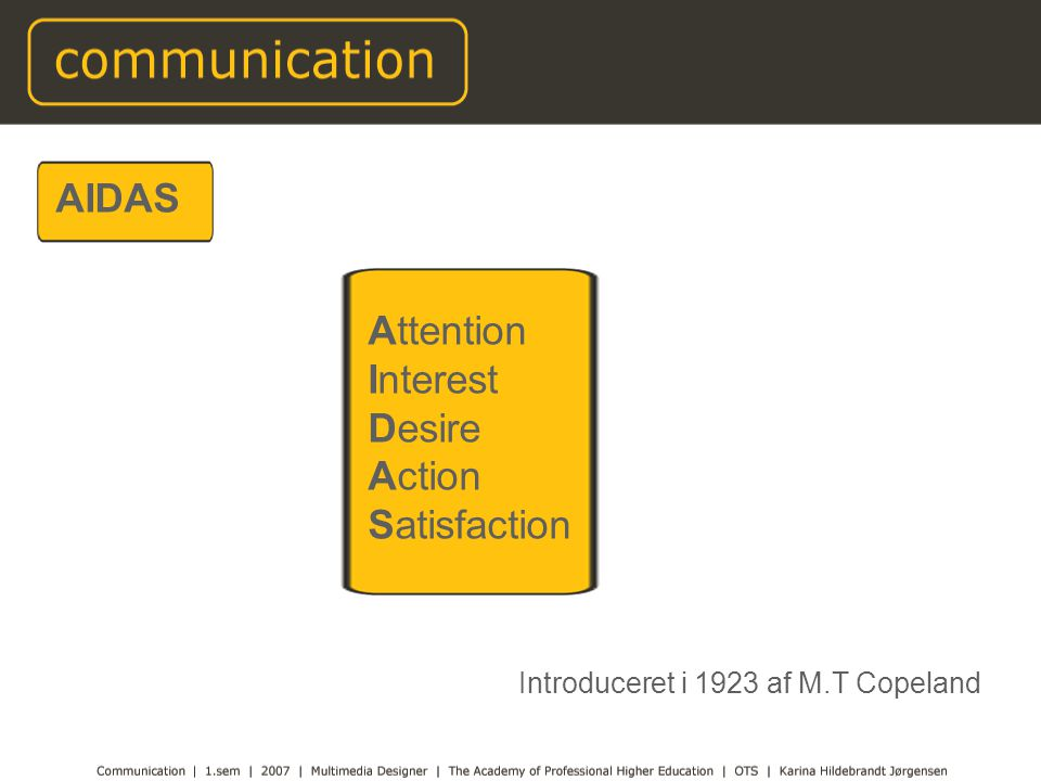 AIDAS Attention Interest Desire Action Satisfaction Introduceret i 1923 af M.T Copeland
