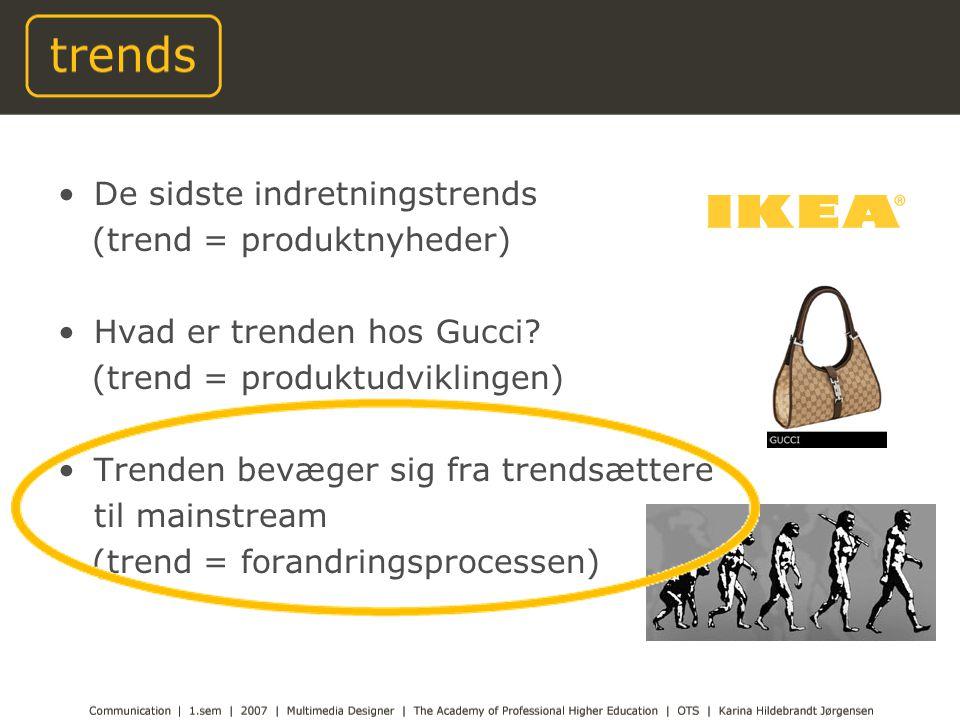 De sidste indretningstrends (trend = produktnyheder) Hvad er trenden hos Gucci.