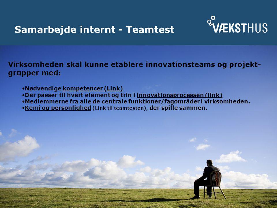Samarbejde internt - Teamtest Virksomheden skal kunne etablere innovationsteams og projekt- grupper med: Nødvendige kompetencer (Link) Der passer til hvert element og trin i innovationsprocessen (link) Medlemmerne fra alle de centrale funktioner/fagområder i virksomheden.