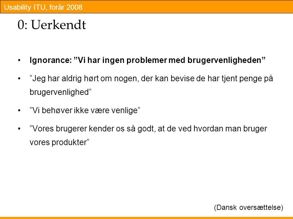 Usability ITU, forår 2008 0: Uerkendt Ignorance: Vi har ingen problemer med brugervenligheden Jeg har aldrig hørt om nogen, der kan bevise de har tjent penge på brugervenlighed Vi behøver ikke være venlige Vores brugerer kender os så godt, at de ved hvordan man bruger vores produkter (Dansk oversættelse)