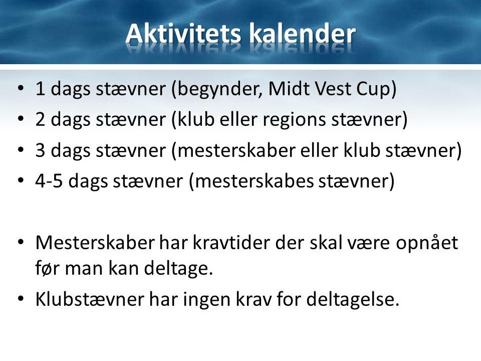 1 dags stævner (begynder, Midt Vest Cup) 2 dags stævner (klub eller regions stævner) 3 dags stævner (mesterskaber eller klub stævner) 4-5 dags stævner (mesterskabes stævner) Mesterskaber har kravtider der skal være opnået før man kan deltage.