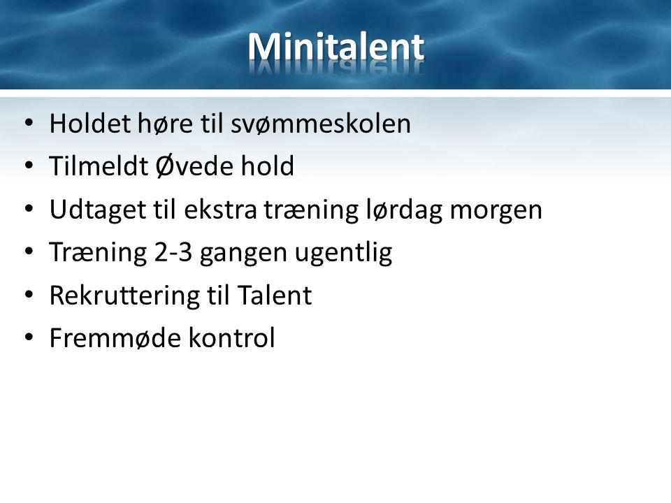 Holdet høre til svømmeskolen Tilmeldt Øvede hold Udtaget til ekstra træning lørdag morgen Træning 2-3 gangen ugentlig Rekruttering til Talent Fremmøde kontrol