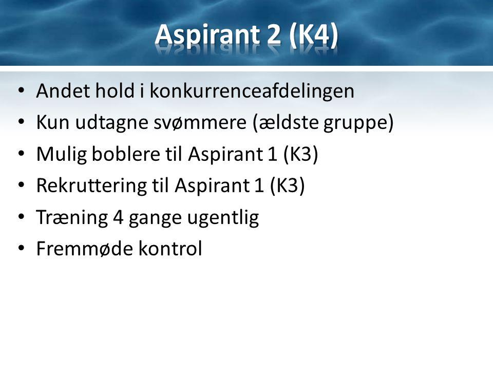 Andet hold i konkurrenceafdelingen Kun udtagne svømmere (ældste gruppe) Mulig boblere til Aspirant 1 (K3) Rekruttering til Aspirant 1 (K3) Træning 4 gange ugentlig Fremmøde kontrol