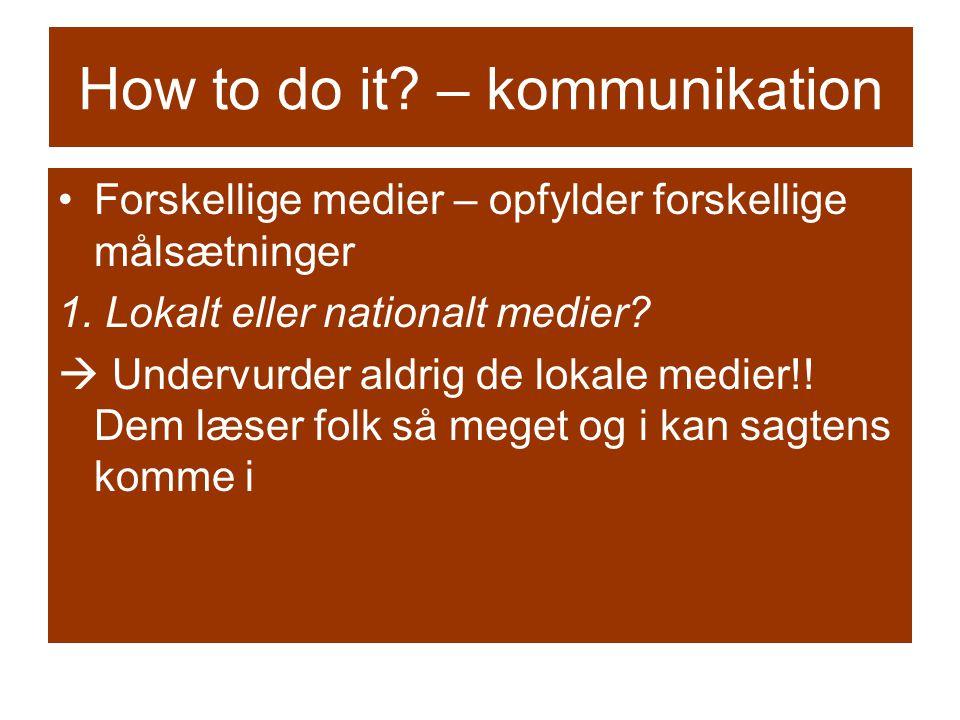 How to do it. – kommunikation Forskellige medier – opfylder forskellige målsætninger 1.