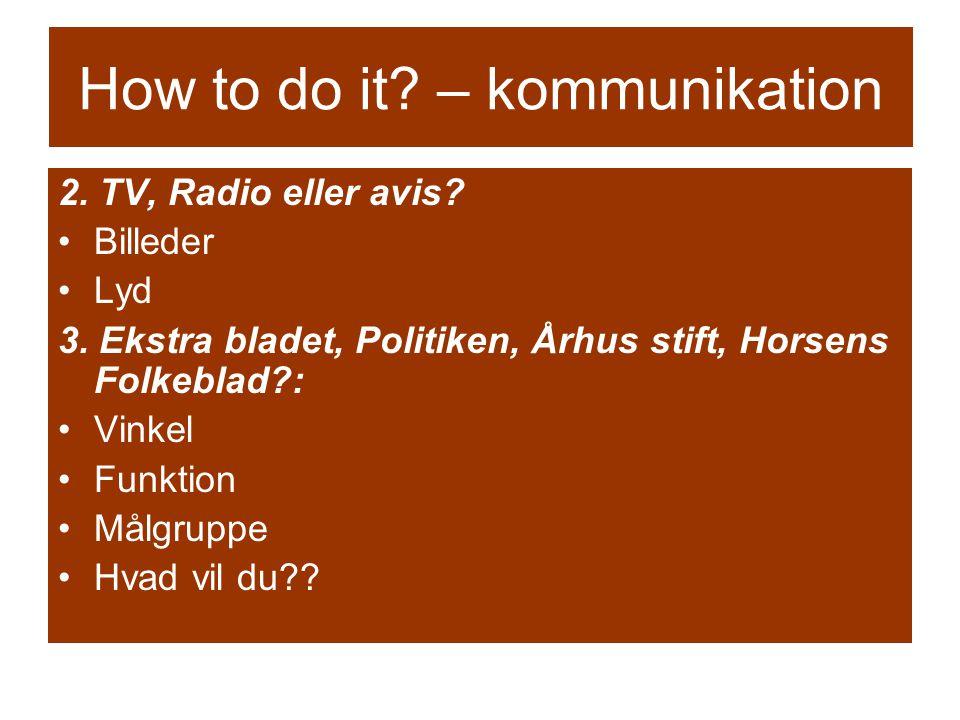 How to do it. – kommunikation 2. TV, Radio eller avis.