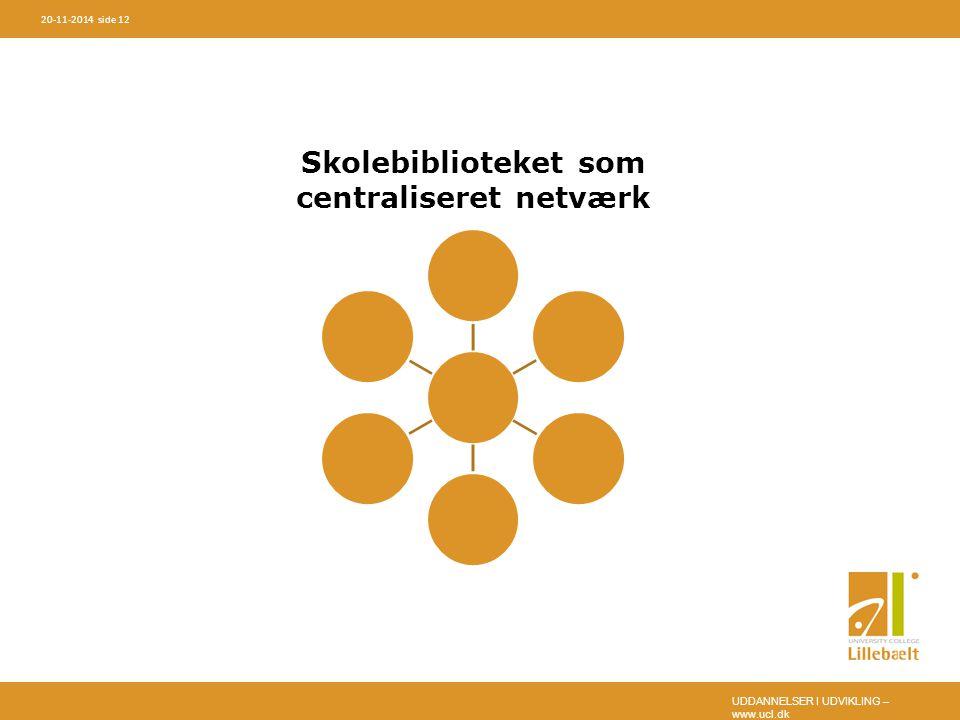 UDDANNELSER I UDVIKLING – www.ucl.dk 20-11-2014 side 12 Skolebiblioteket som centraliseret netværk