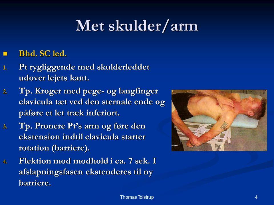 5Thomas Tolstrup Met skulder/arm Test SC led (horisontal fleksion) Test SC led (horisontal fleksion) 1.