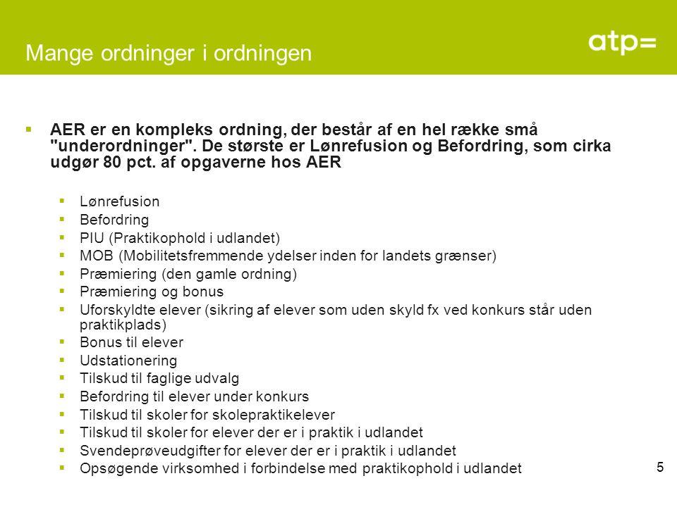 5 Mange ordninger i ordningen  AER er en kompleks ordning, der består af en hel række små underordninger .