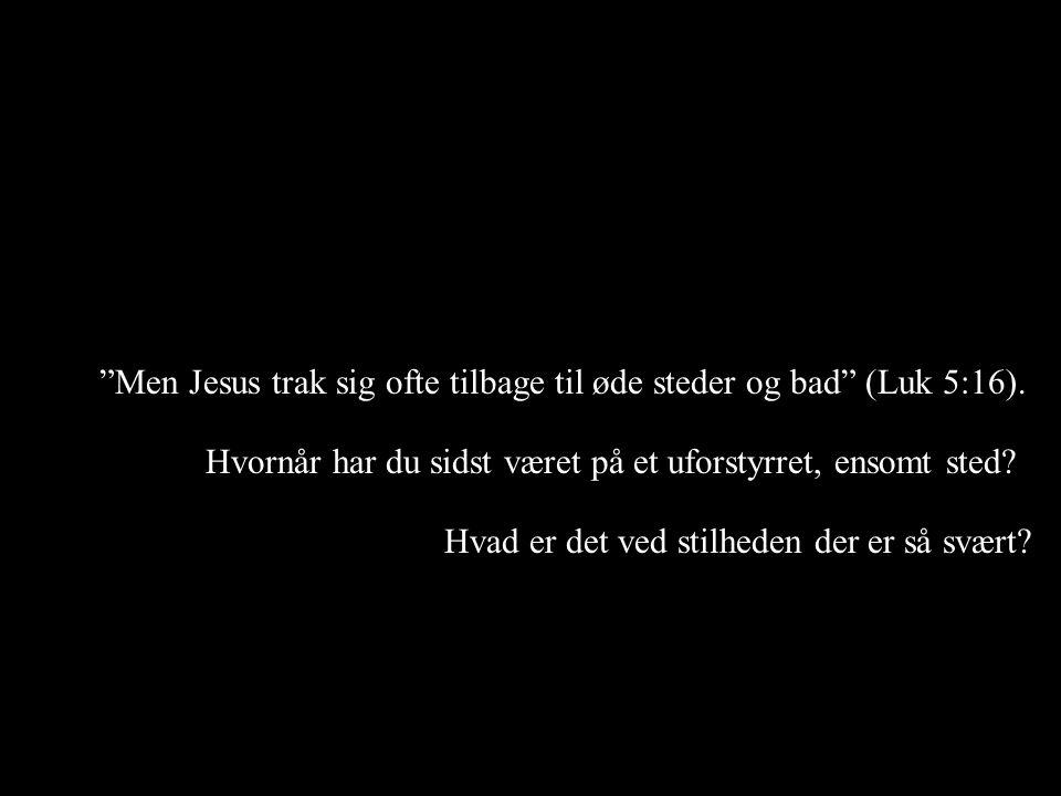 Men Jesus trak sig ofte tilbage til øde steder og bad (Luk 5:16).