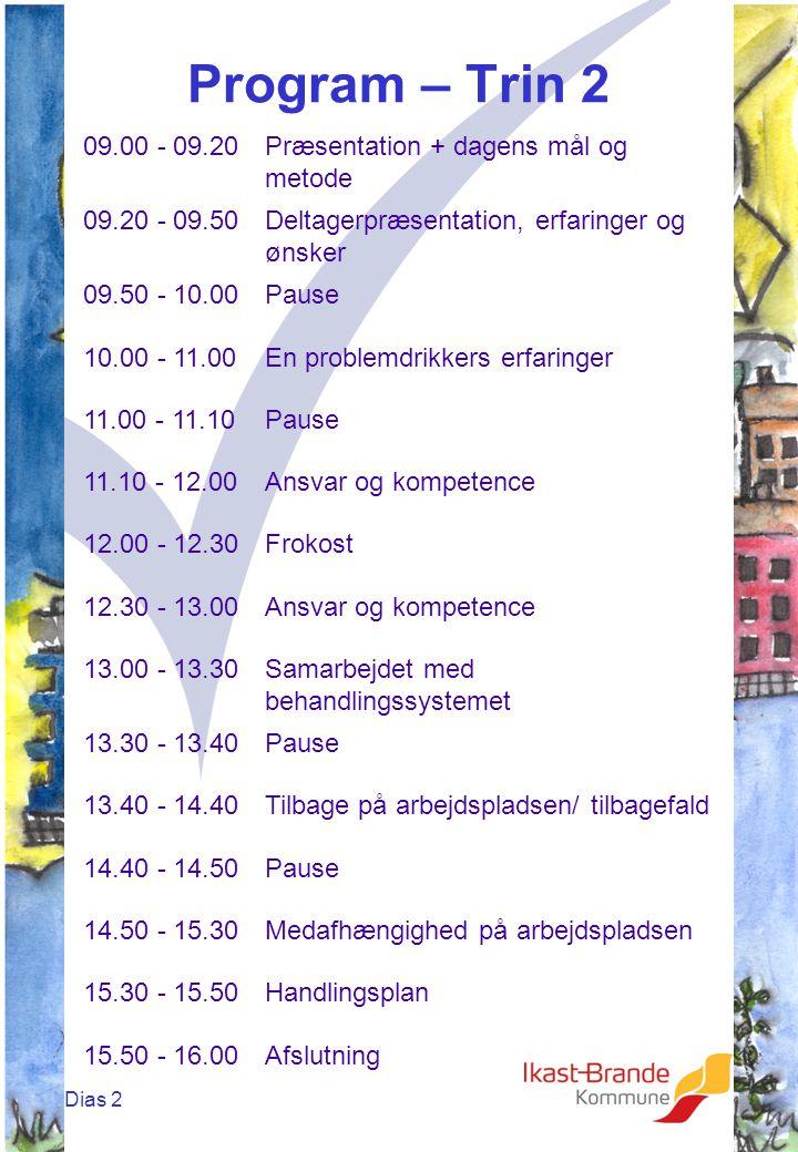 Dias 2 Program – Trin 2 09.00 - 09.20Præsentation + dagens mål og metode 09.20 - 09.50Deltagerpræsentation, erfaringer og ønsker 09.50 - 10.00Pause 10.00 - 11.00En problemdrikkers erfaringer 11.00 - 11.10Pause 11.10 - 12.00Ansvar og kompetence 12.00 - 12.30Frokost 12.30 - 13.00Ansvar og kompetence 13.00 - 13.30Samarbejdet med behandlingssystemet 13.30 - 13.40Pause 13.40 - 14.40Tilbage på arbejdspladsen/ tilbagefald 14.40 - 14.50Pause 14.50 - 15.30Medafhængighed på arbejdspladsen 15.30 - 15.50Handlingsplan 15.50 - 16.00Afslutning