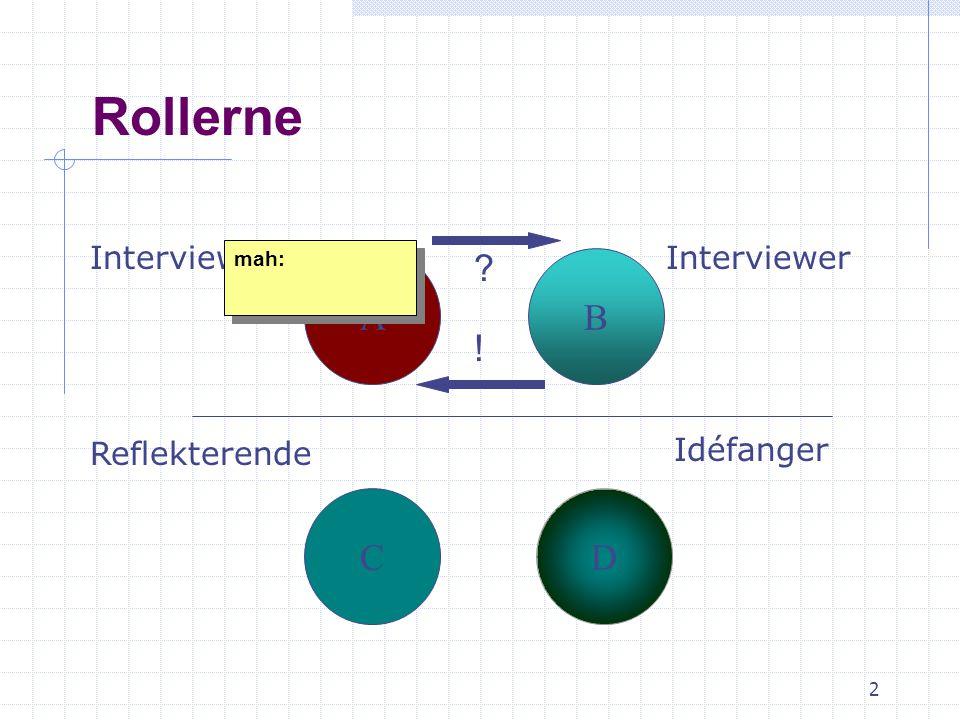 2 Rollerne AB CD Interviewede Reflekterende Interviewer ? ! Idéfanger mah: