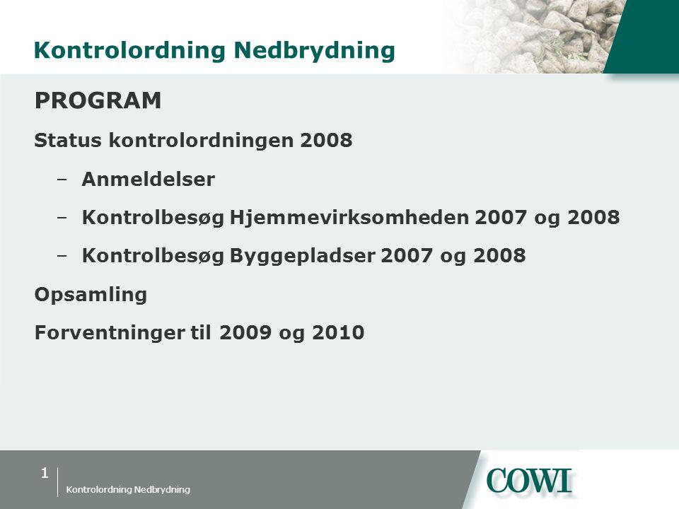1 Kontrolordning Nedbrydning PROGRAM Status kontrolordningen 2008 –Anmeldelser –Kontrolbesøg Hjemmevirksomheden 2007 og 2008 –Kontrolbesøg Byggepladser 2007 og 2008 Opsamling Forventninger til 2009 og 2010