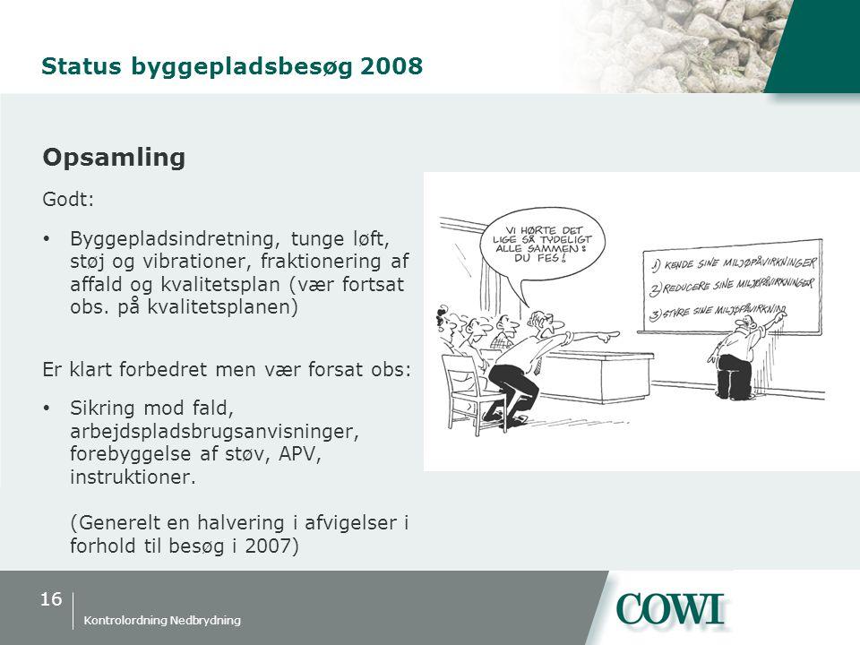 16 Kontrolordning Nedbrydning Status byggepladsbesøg 2008 Opsamling Godt:  Byggepladsindretning, tunge løft, støj og vibrationer, fraktionering af affald og kvalitetsplan (vær fortsat obs.