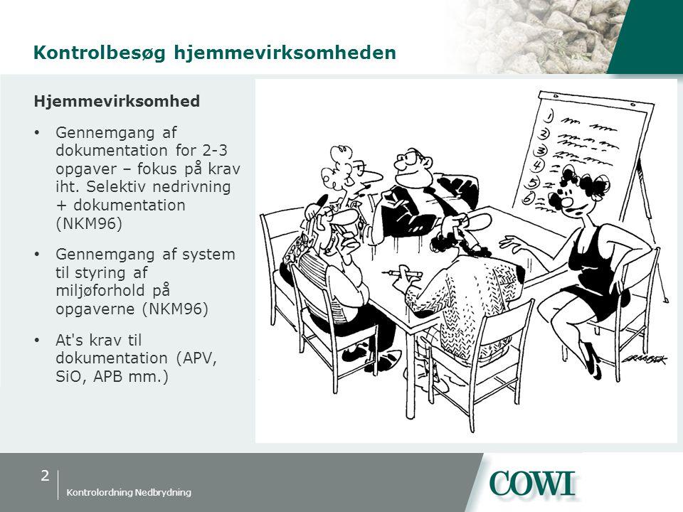 2 Kontrolordning Nedbrydning Kontrolbesøg hjemmevirksomheden Hjemmevirksomhed  Gennemgang af dokumentation for 2-3 opgaver – fokus på krav iht.