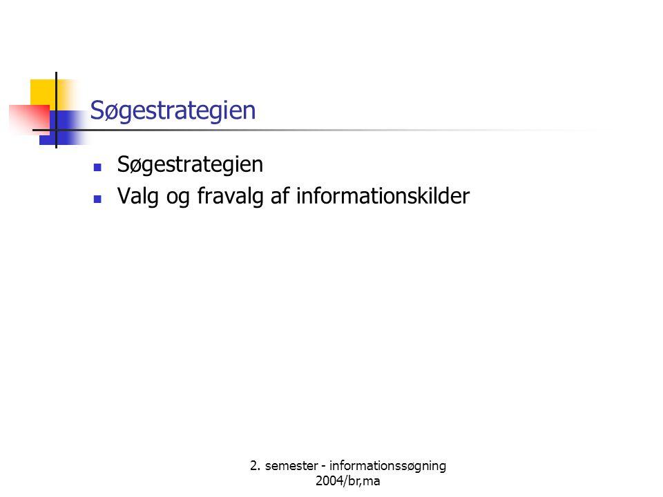 2. semester - informationssøgning 2004/br,ma Søgestrategien Valg og fravalg af informationskilder