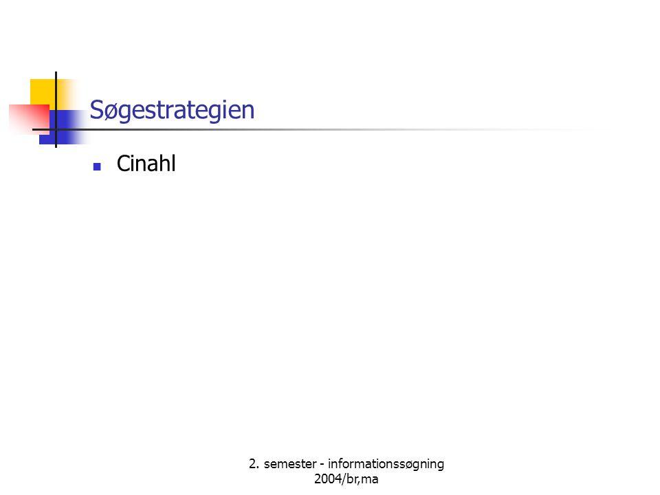 2. semester - informationssøgning 2004/br,ma Søgestrategien Cinahl