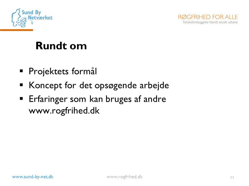 www.sund-by-net.dk www.rogfrihed.dk 11 Rundt om  Projektets formål  Koncept for det opsøgende arbejde  Erfaringer som kan bruges af andre www.rogfrihed.dk