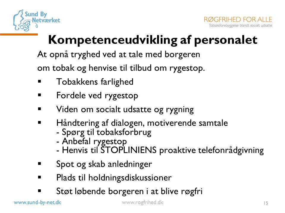 www.sund-by-net.dk www.rogfrihed.dk 15 Kompetenceudvikling af personalet At opnå tryghed ved at tale med borgeren om tobak og henvise til tilbud om rygestop.