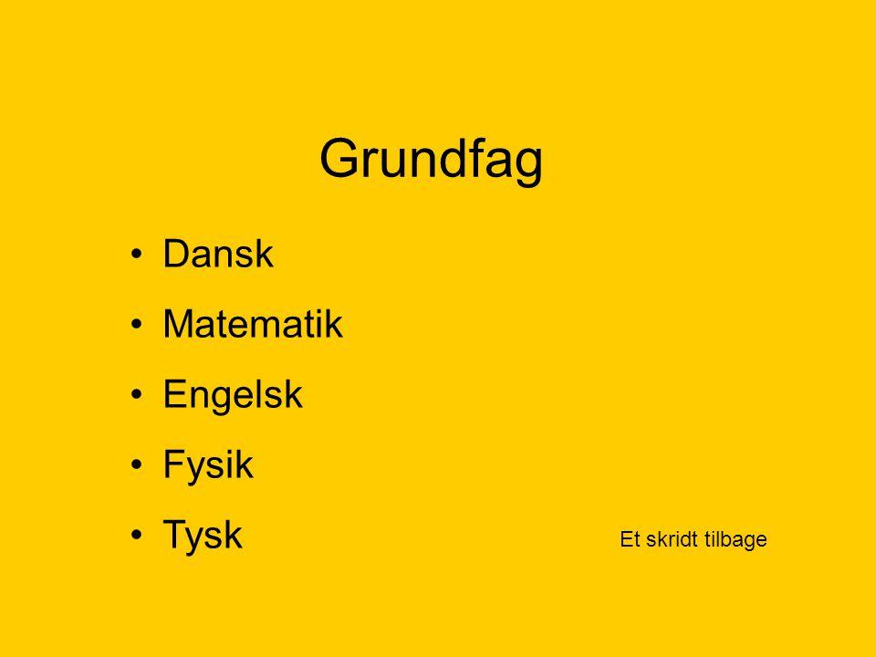 Grundfag Et skridt tilbage Dansk Matematik Engelsk Fysik Tysk