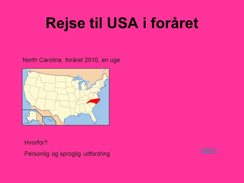 Rejse til USA i foråret Retur North Carolina, foråret 2010, en uge Hvorfor.