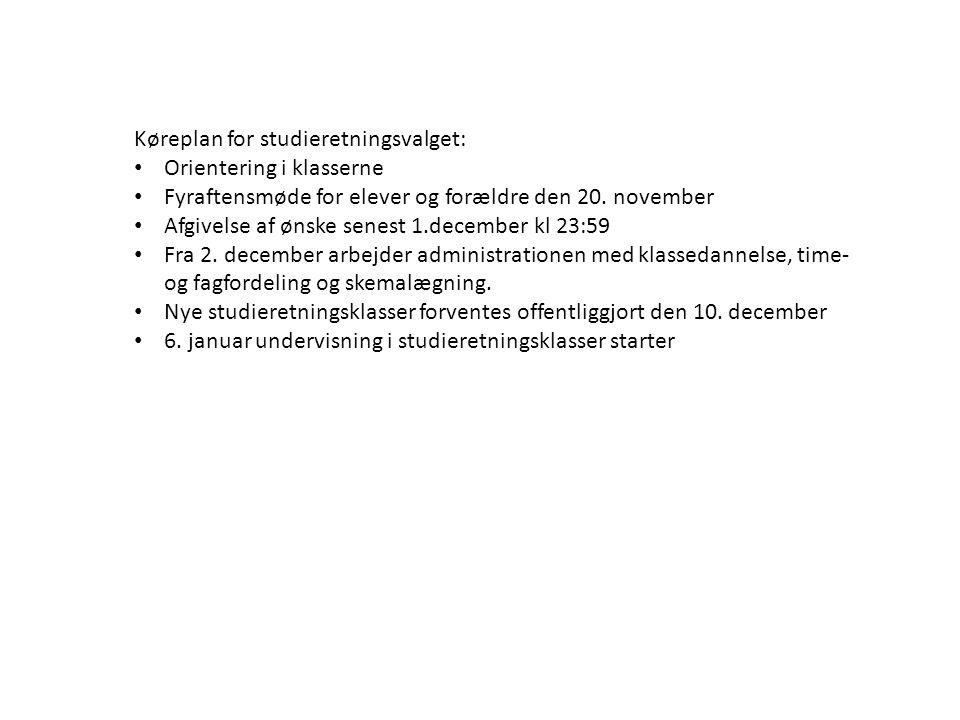 Køreplan for studieretningsvalget: Orientering i klasserne Fyraftensmøde for elever og forældre den 20.