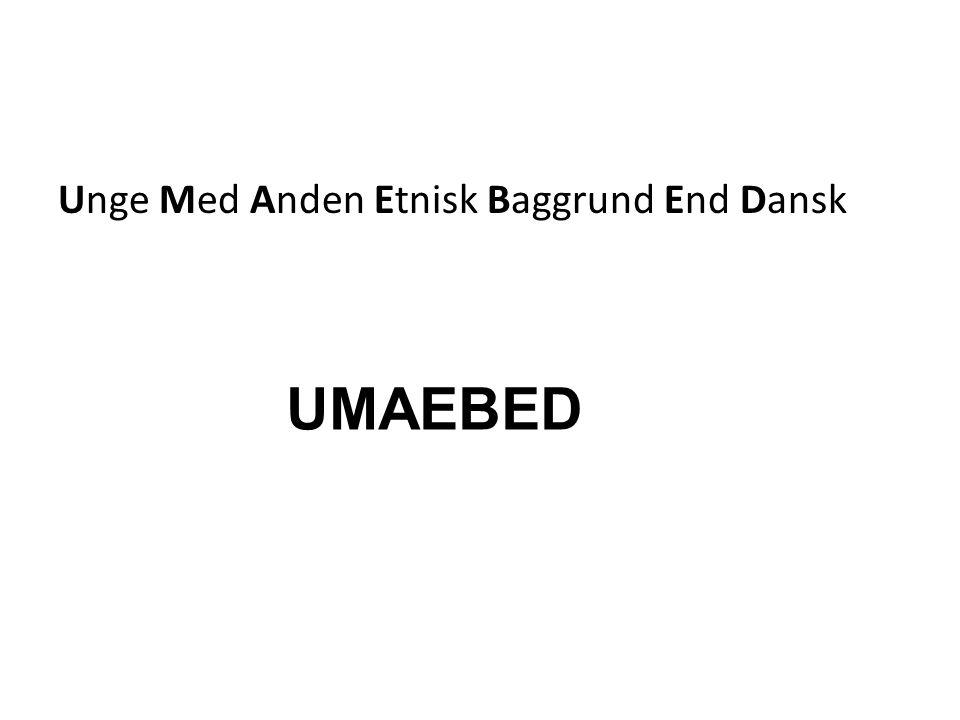 Unge Med Anden Etnisk Baggrund End Dansk UMAEBED