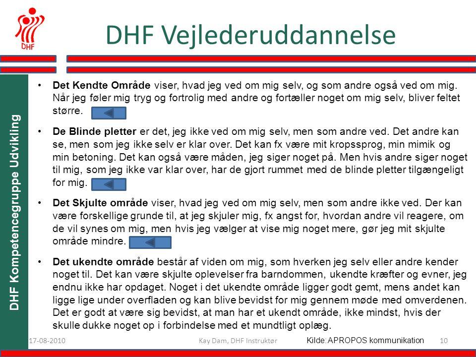 1017-08-2010 DHF Vejlederuddannelse Kay Dam, DHF Instruktør DHF Kompetencegruppe Udvikling Det Kendte Område viser, hvad jeg ved om mig selv, og som andre også ved om mig.