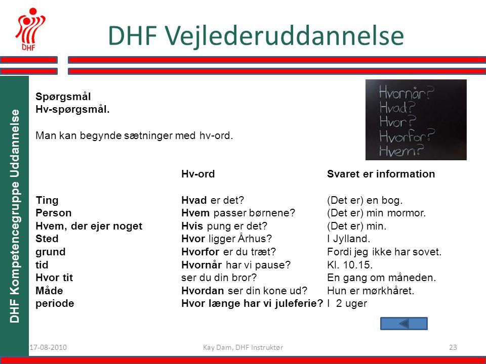 DHF Kompetencegruppe Uddannelse 2317-08-2010 DHF Vejlederuddannelse Kay Dam, DHF Instruktør Spørgsmål Hv-spørgsmål.