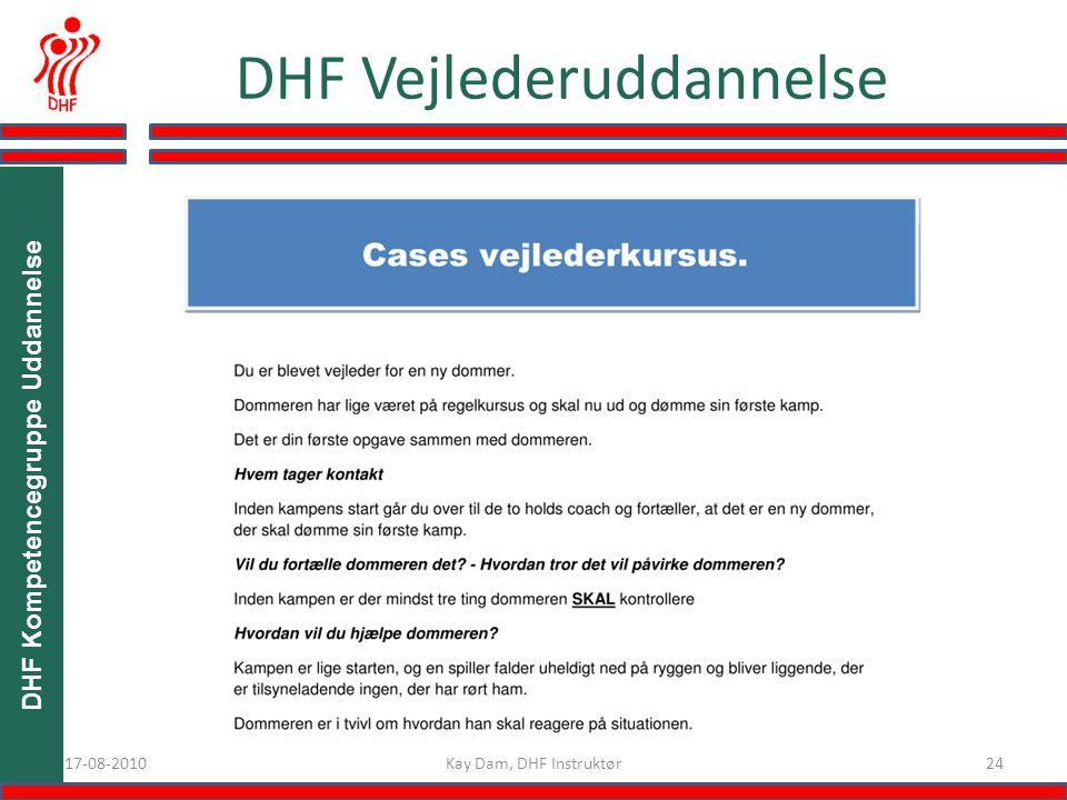 DHF Kompetencegruppe Uddannelse 2417-08-2010 DHF Vejlederuddannelse Kay Dam, DHF Instruktør