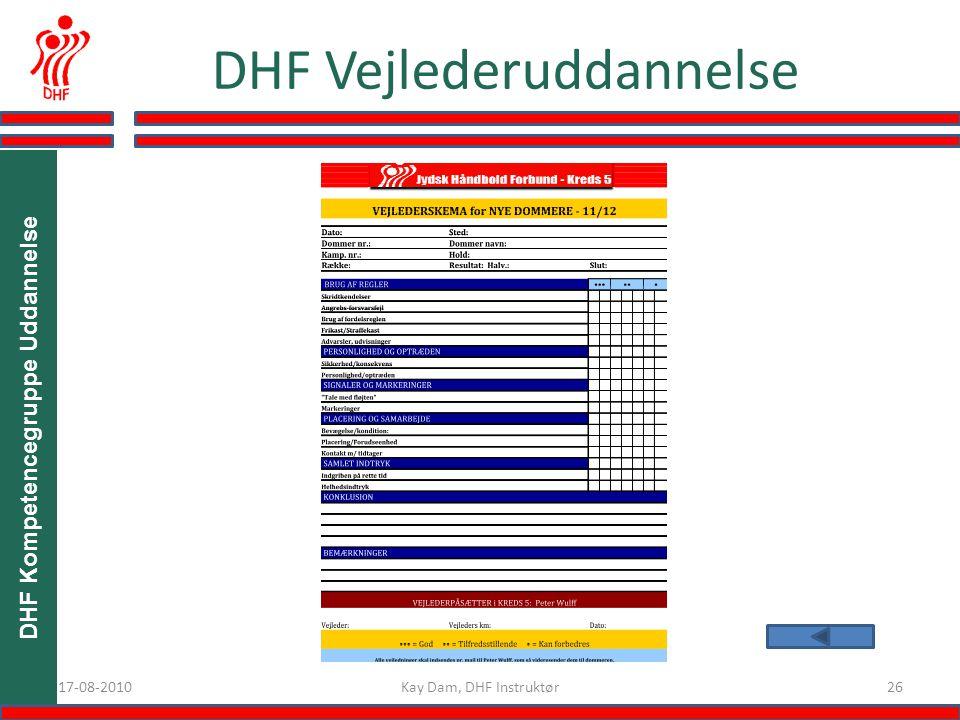 DHF Kompetencegruppe Uddannelse 2617-08-2010 DHF Vejlederuddannelse Kay Dam, DHF Instruktør