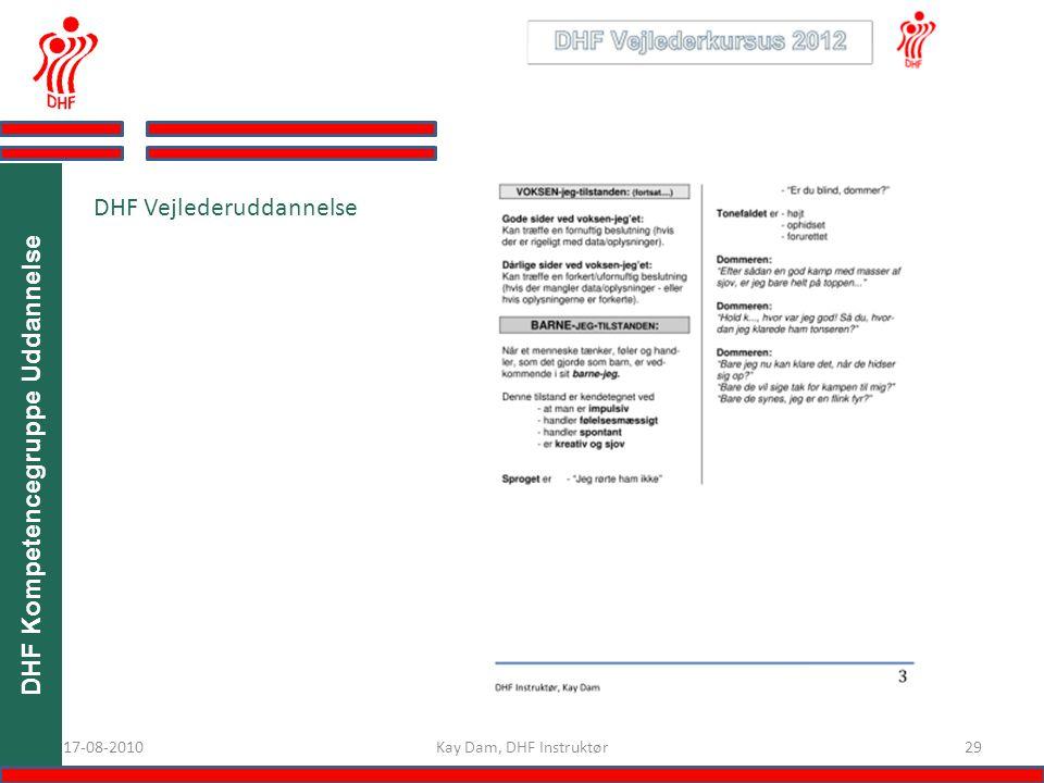 DHF Kompetencegruppe Uddannelse 2917-08-2010 DHF Vejlederuddannelse Kay Dam, DHF Instruktør