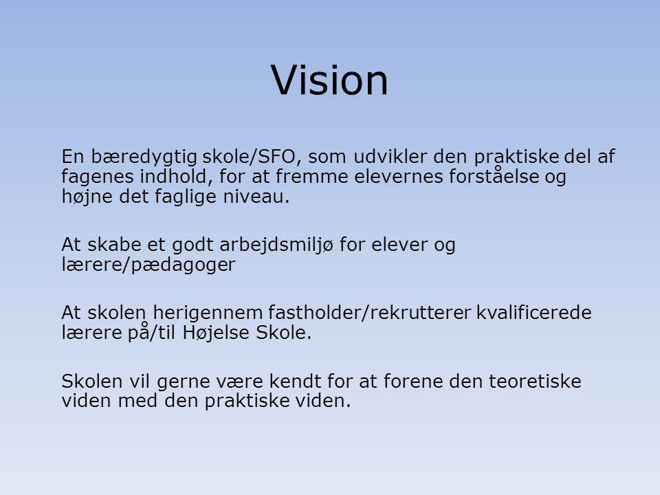 Vision En bæredygtig skole/SFO, som udvikler den praktiske del af fagenes indhold, for at fremme elevernes forståelse og højne det faglige niveau.