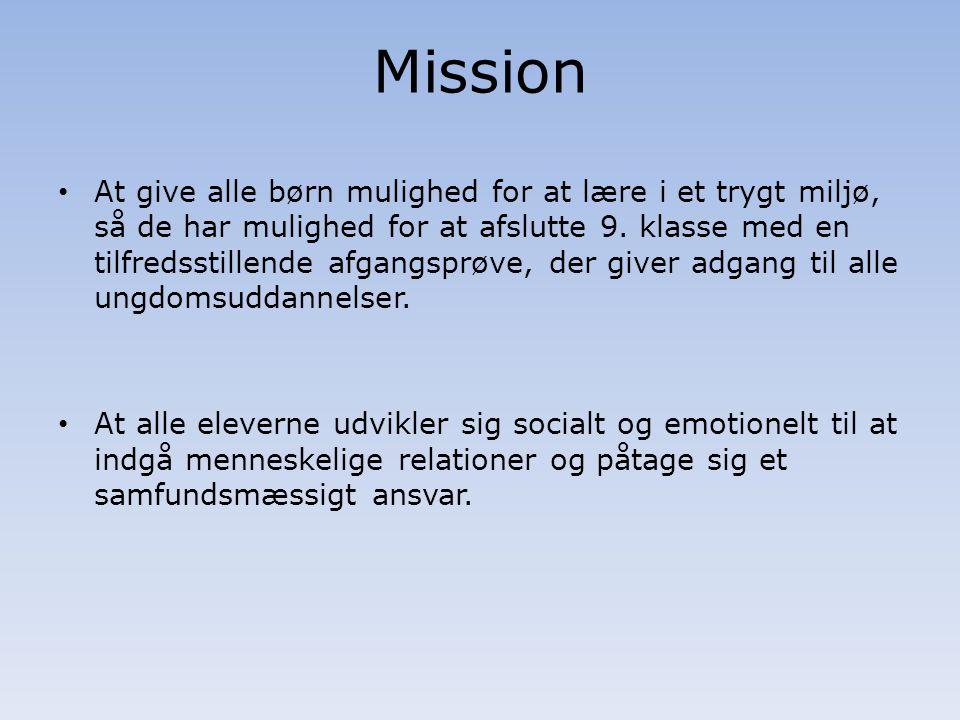 Mission At give alle børn mulighed for at lære i et trygt miljø, så de har mulighed for at afslutte 9.