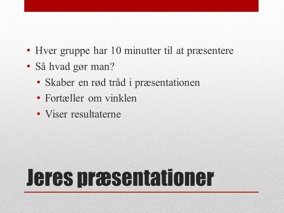 Jeres præsentationer Hver gruppe har 10 minutter til at præsentere Så hvad gør man.