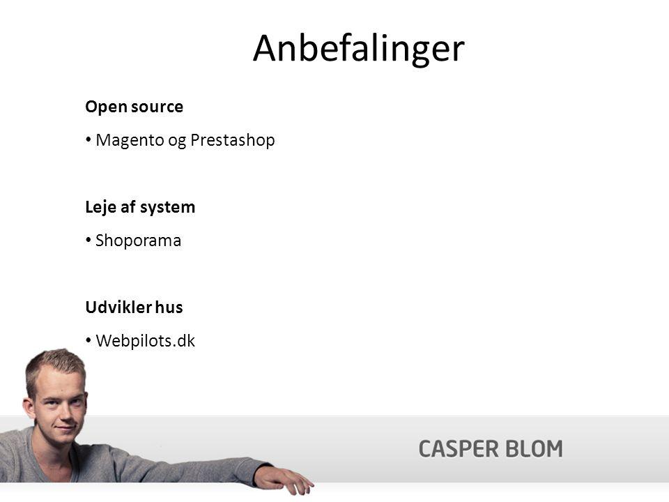 Anbefalinger Open source Magento og Prestashop Leje af system Shoporama Udvikler hus Webpilots.dk