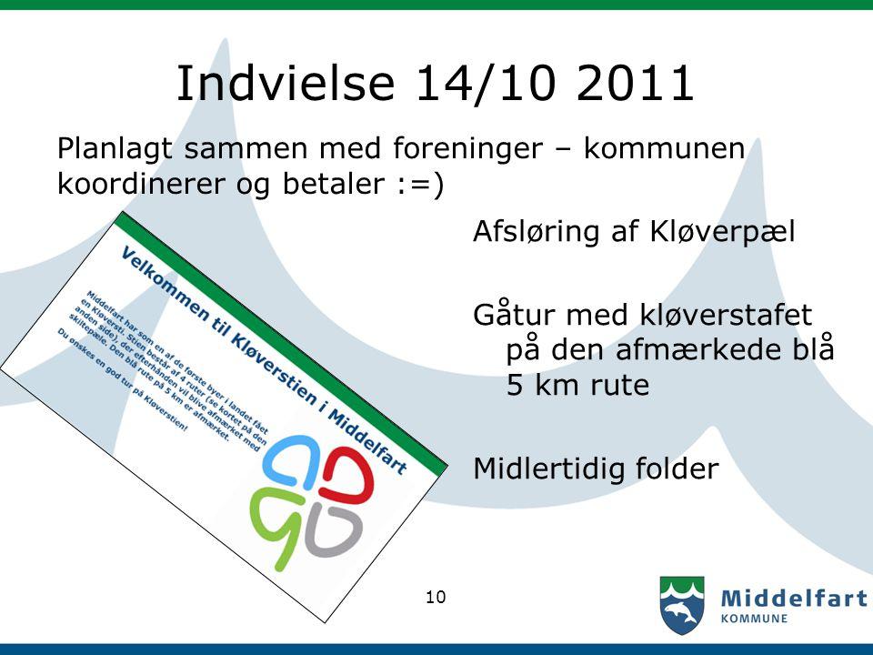 Indvielse 14/10 2011 Planlagt sammen med foreninger – kommunen koordinerer og betaler :=) Afsløring af Kløverpæl Gåtur med kløverstafet på den afmærke
