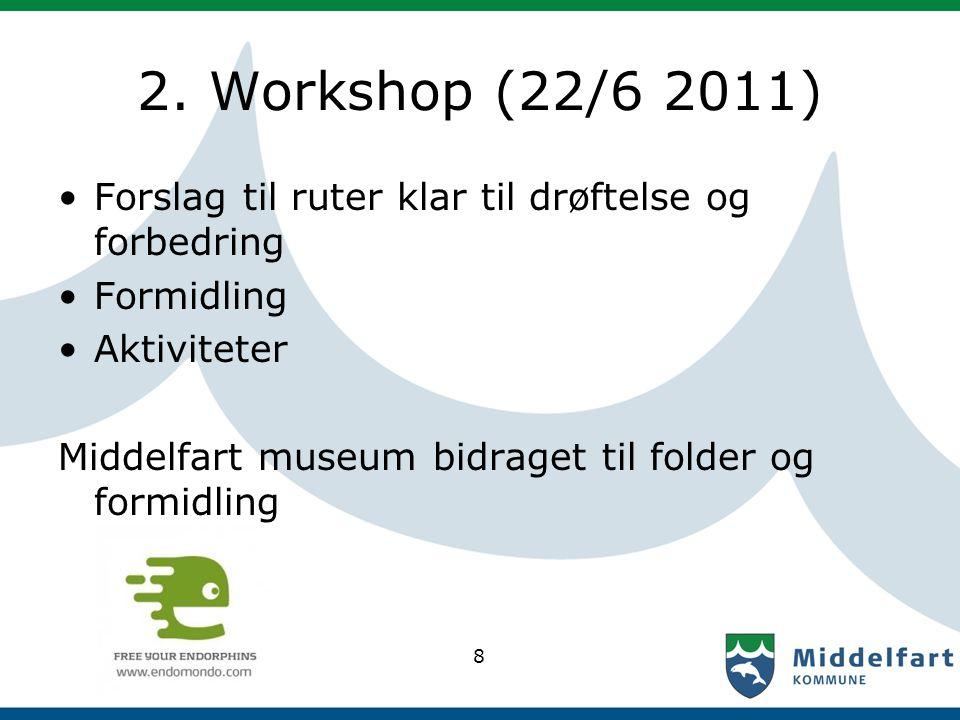 2. Workshop (22/6 2011) Forslag til ruter klar til drøftelse og forbedring Formidling Aktiviteter Middelfart museum bidraget til folder og formidling